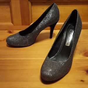 86eae86c6 Tamaris. Black Silver Sparkle Glitter Round Toe Pumps Heels